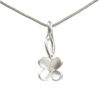 Cavendish francese in argento spazzolato quattro petali ciondolo con catena d'argento di 16-18