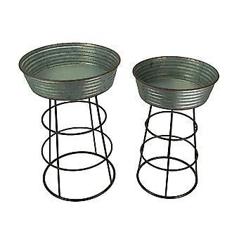 Pedaço de Metal galvanizado rústico 2 rodada lavar banheira plantador Stand conjunto