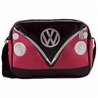 VW Camper Van PVC Retro Messenger Bag - Black + Red