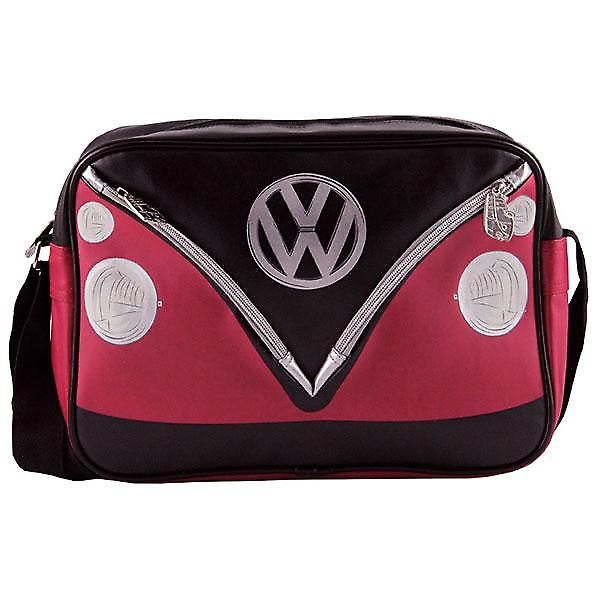 VW Camper Van PVC Retro Messenger Bag - noir + rouge