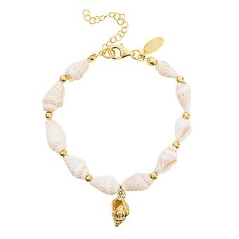 Spiral Sea Shell Pendant Bracelet White Natural Yellow Gold 925 sterling Silver