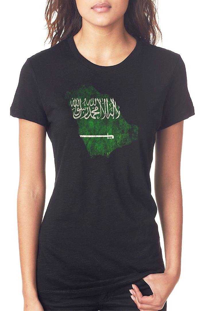 Saudia Arabian Saudi Arabia Flag Map Ladies T Shirt