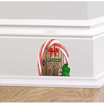 Fullfärg Christmas Elf Workshop trädörr vägg klistermärke