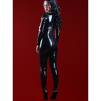 Skin Two Clothing Women's Kinky Sexy Catsuit Latex Rubber With Feet Black