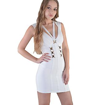 Lovemystyle Short Gold Buckle Bandage Dress In White