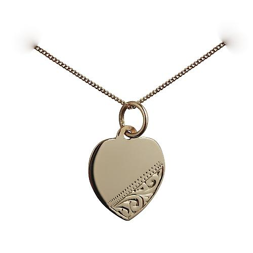 9ct Gold 14x14mm hand engraved Heart disc with a curb chain
