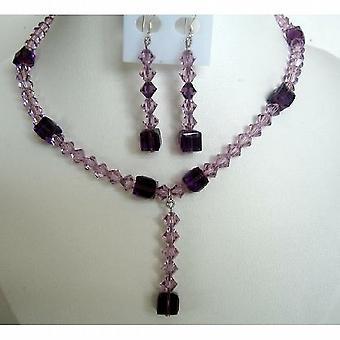 Kvällen fest smycken brud & brudtärna ametist kristaller TearDrop