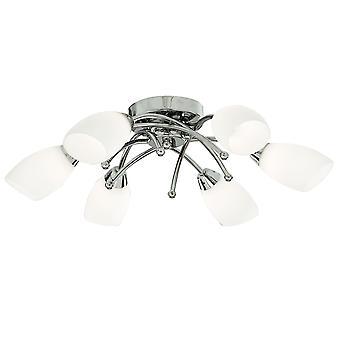Opera cromo e opale vetro sei luce filo pavimento - Searchlight 8186-6CC