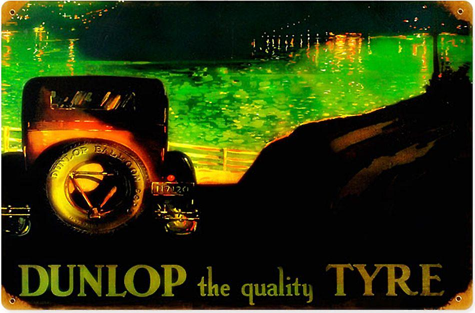 Dunlop the Quality Tyre rusted steel sign  (pst 1812)