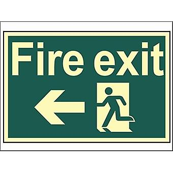 Scan van Fire Exit Running Man pijl links / fotoluminescerende 300 x 200 mm