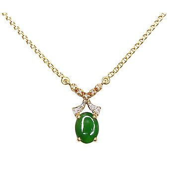 18 k gold necklace with jade and diamond