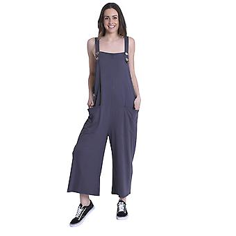 Ladies Loose Fit Cotton Jersey Dungarees - Charcoal Lightweight One Size Wide Le