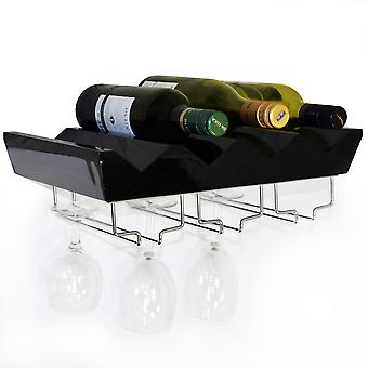 Monterey - 4 Bottle Wall Mounted Floating Wine Storage Shelf - Black