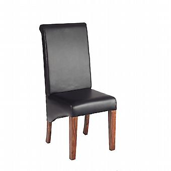 Oslo Sheesham Leather Dining Chair  - A Pair