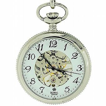 Royal London Mechanical Open Face Gents - Mens Silver Tone Pocket Watch 90002-01