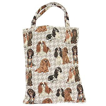 Cavalier king charles spaniel eco foldable shopping bag by signare tapestry / eco-kgcs