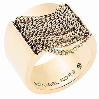 Michael Kors dam guld Tplated Modern Fringe Ring - Mkj5795710