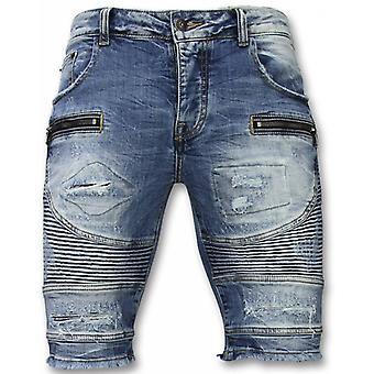Men's short trousers-Slim Fit Ripped Biker Shorts-Blue