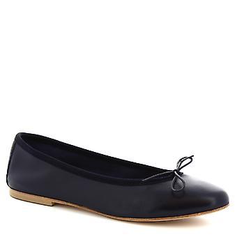Leonardo Shoes Women's handmade slip-on ballet flats shoes blue calf leather