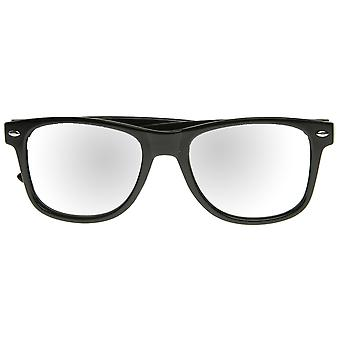 Classic Retro Fashion Horn Rimmed Style Sunglasses w/ Fully Mirrored Lens