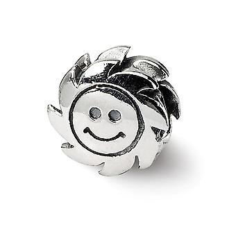 925 Sterling Silver Antique finish Reflections SimStars Smiling Sun Bead Charm