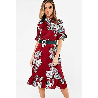 iClothing Hebe Floral Print Shirt Dress In Wine-16