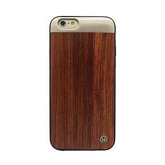 iPhone 6/6s - 4.7 Inch Rose Wood with Brushed Metal Plate Brown Hard Shell