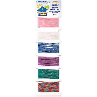 Clubhouse Crafts Elastic Cord Sparkle 6 Colors 4 Yards Each 8900Ec 1 13