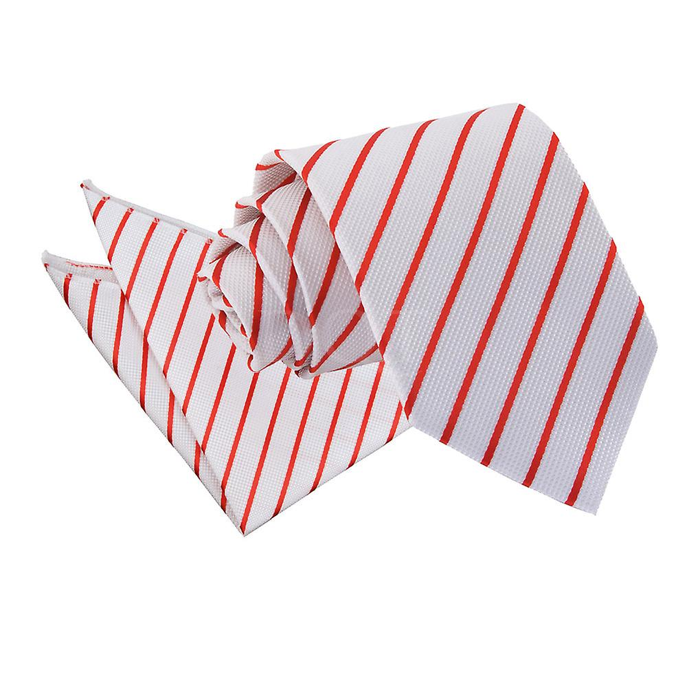 Single Stripe White & Red Tie 2 pc. Set
