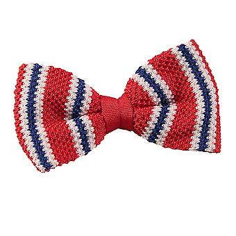 Knitted Red with Blue & White Thin Stripe Bow Tie