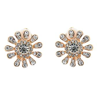 Clip On Earrings Store Gold and Clear Crystal Flower Snowflake Clip On Earrings