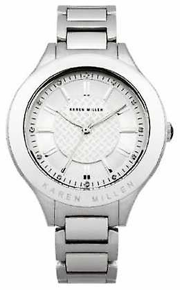Karen Millen Womens' Stainless-Steel Crystal-Set Round Dial KM124SM Watch