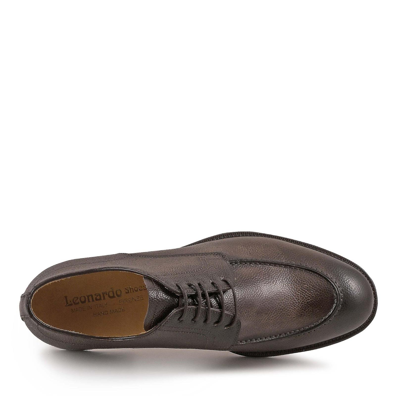 Handmade chocolate leather derby derby derby shoes for men 6bff8d