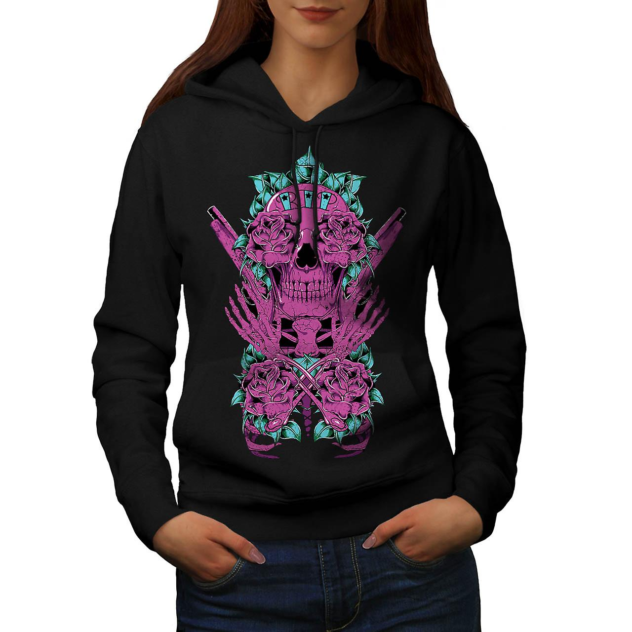 Deadman Rose Gun Skull Women Black Hoodie | Wellcoda