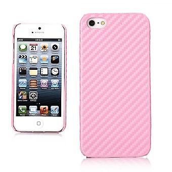 Cover with carbon fiber pattern for iPhone 5 (Pink)
