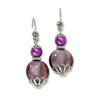 Silver-tone Purple Crystal With Purple Beads Dangle Earrings