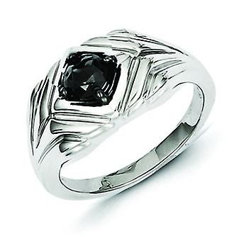 Sterling Silver Black Round Diamond Mens Ring - Ring Size: 9 to 11
