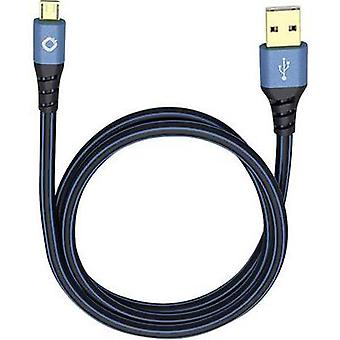 USB 2.0 Cable [1x USB 2.0 connector A - 1x USB 2.0 connector Micro B] 1.50 m Blue gold plated connectors Oehlbach