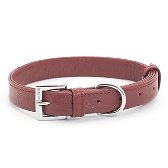 Indulgence Folded Leather Collar Red 16mm X26-36cm