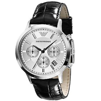 Emporio Armani AR2432 Black Leather White Dial Chronograph Watch