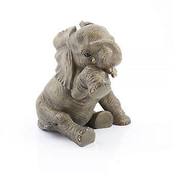 15cmRESIN BABY elefant mødet TEARDROP hjem DEKORATION ORNAMENT figur