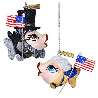 Founding Flounders Fish Holiday Ornaments Set of 2 Katherines Collection