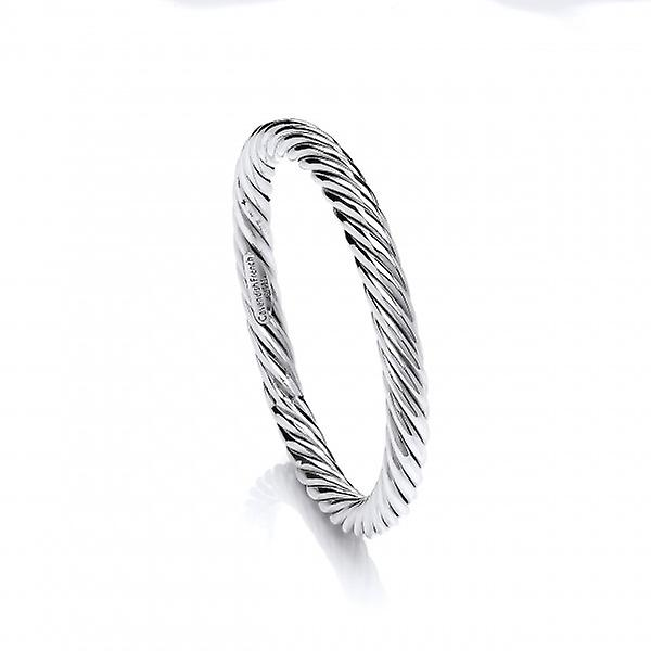 Cavendish French Sterling Silver Thick Twist Full Circle Bangle