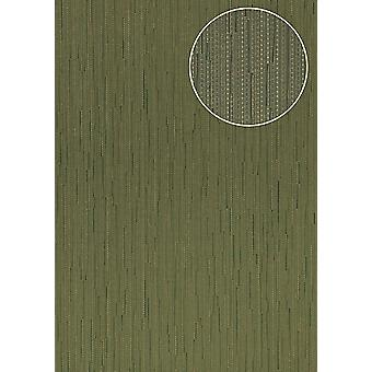 Noble University wallpaper Atlas COL-497-6 non-woven wallpaper smooth with stripes shimmering green olive Reed Green 5.33 m2