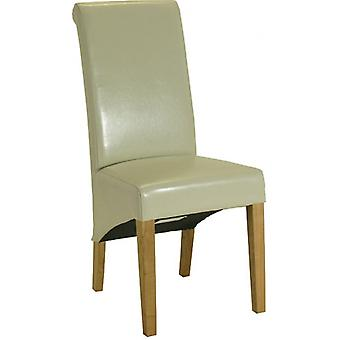 Classic Roll Top Pu Dining Chair - Cream X2