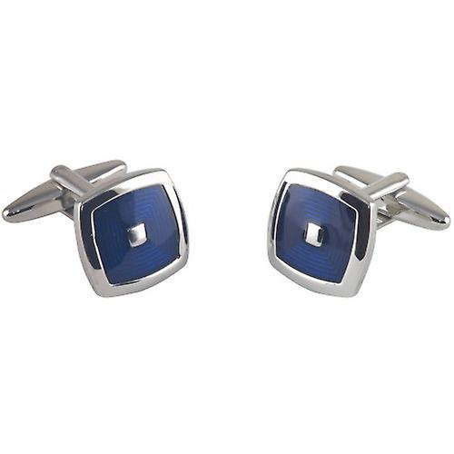 David Van Hagen Square Stepped Epoxy Enamel Cufflinks - Silver/Navy