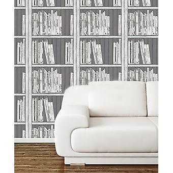 Bookcase Wallpaper Modern Books Wooden Effect Black White Silver Holden