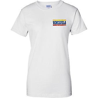 Venezuela país Grunge efecto de nombre de bandera - señoras pecho diseño camiseta
