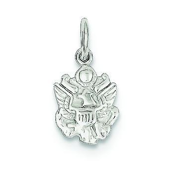 Sterlingsølv Solid poleret ikke engraveable hær insignier charme -.5 gram