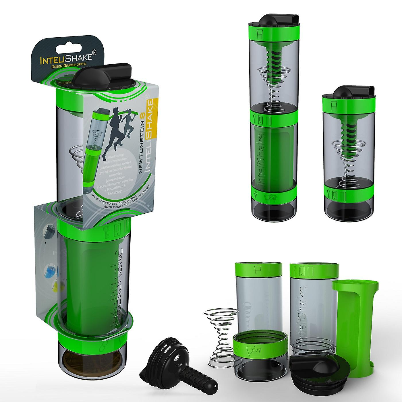 Intelishake  Grasshopper Green - Shaker Bottle Multi-Compartment Protein/Workout/Juice with Water Carbon Filter for Sports Exercise & Gym
